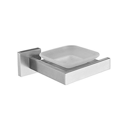 European contemporary 304 stainless steel wire drawing square base, bathroom fittings, towel bar, toilet brush rack,Soap dish