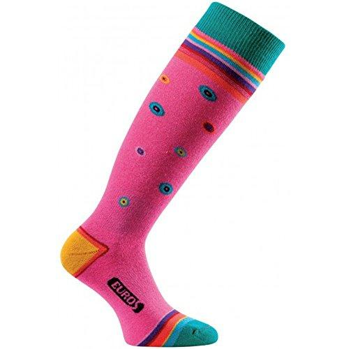 Eurosocks Women's Snow Chill Skiing Socks, Mandala Pink, Large