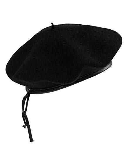 EveryHead Fiebig Boys Beret Basque French Cap Sailor Hat Artist Faux Leather Edging Children (FI-40110-W16-JU2) incl Hutfibel Black