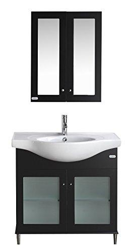 "Eviva EVVN511-36ES Tux Transitional Bathroom Vanity with White Integrated Porcelain Sink Combination, 36"", Espresso"