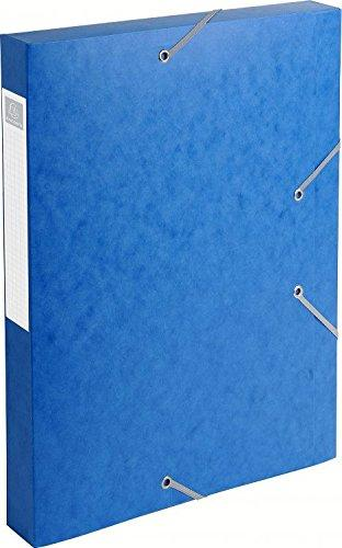 Exacompta Cartobox Elasticated Box File with 3 Flaps and 4 cm Spine 5/10th Polished Cardboard 24 x 32 cm Pack of 10 Blue