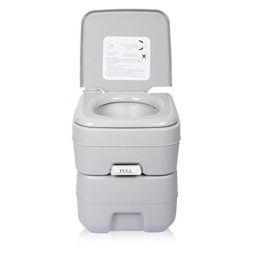Excelvan 20L Travel Portable Toilet 5 Gallon Flush Porta Potti 130kg Bearing Safe Outdoor/Indoor Camping Waste Dustbin Sanitation Tool