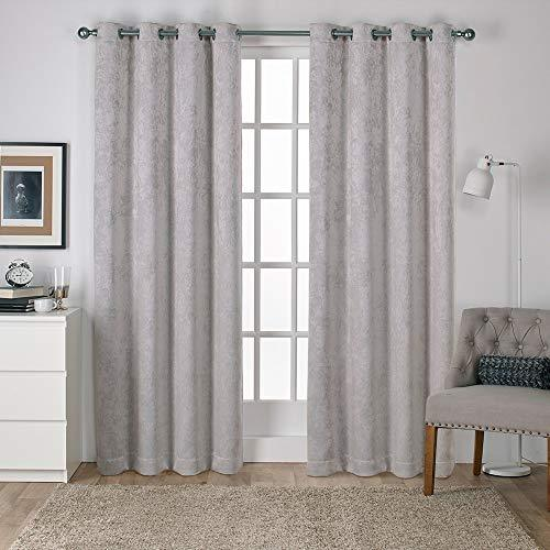 Exclusive Home Curtains Antique Shantung Woven Blackout Grommet Top Panel Pair, Silver, 52x84, 2 Piece