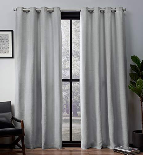 Exclusive Home Curtains Leeds Woven Blackout Grommet Top Panel Pair, Dove Grey, 52x96, 2 Piece