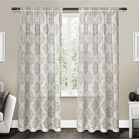 Exclusive Home Curtains Nagano Sheer Rod Pocket Top Panel Pair, Taupe, 54x108, 2 Piece