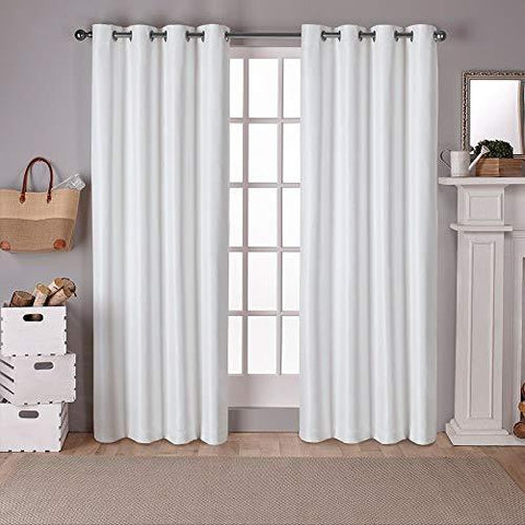 Exclusive Home Curtains Raw Silk Woven Blackout Grommet Top Panel Pair, Off-white, 52x108, 2 Piece