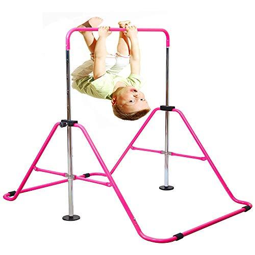 Expandable Gymnastics Bars Junior Training Bar Adjustable Height Gymnastic Horizontal Bars Children Folding Training Monkey Bars Child Gym Climbing Tower Kip Balance Bar for Kids (Pink)