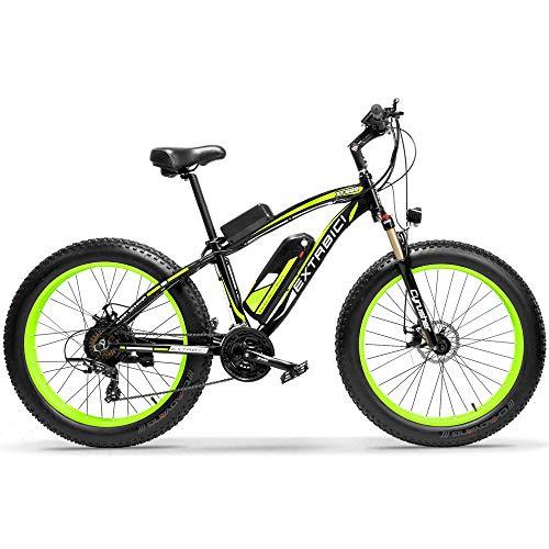 Extrbici XF660 Electric Bike 48V 1000W Mens Mountain Ebike 7 Speeds 26 inch Fat Tire Road Bicycle Snow Bike Pedals with Disc Brakes and Suspension Fork (Removable Lithium Battery) (Green)