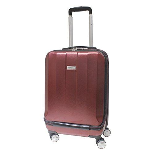 "Exzact Cabin Luggage/Carry-on Bag – 20"" / Hard Shell/Hardside/Front Pocket for Laptops / 4 Wheels 360° Spinning/Lightweight - for Ryanair, Easyjet, BA, Virgin Atlantic and More - Burgundy"