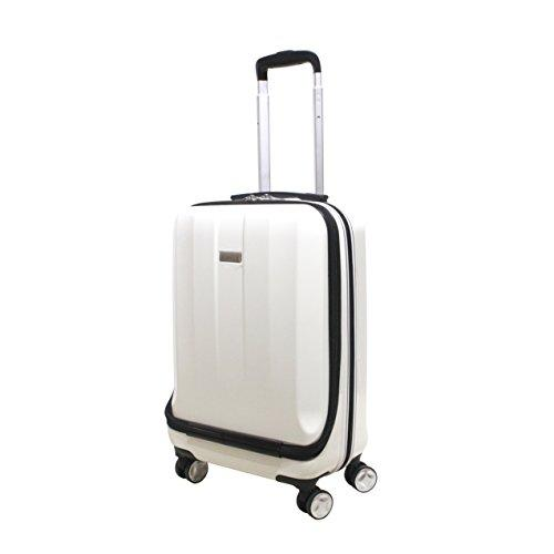 "Exzact Cabin Luggage/Carry-on Bag – 20"" / Hard Shell/Hardside/Front Pocket for Laptops / 4 Wheels 360° Spinning/Lightweight - for Ryanair, Easyjet, BA, Virgin Atlantic and More - White"