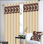 "Eyelet Cream Curtains Royal Damask Curtains Eyelet Ring Top Faux Silk Curtains 66x72"" (W168cm x L183cm) + tiebacks"