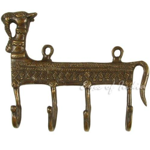 "Eyes of India - 6"" Brass Camel Decorative Animal Wall Hooks Hangers Coat Key Rack Bronze Bohemian Boho Indian"