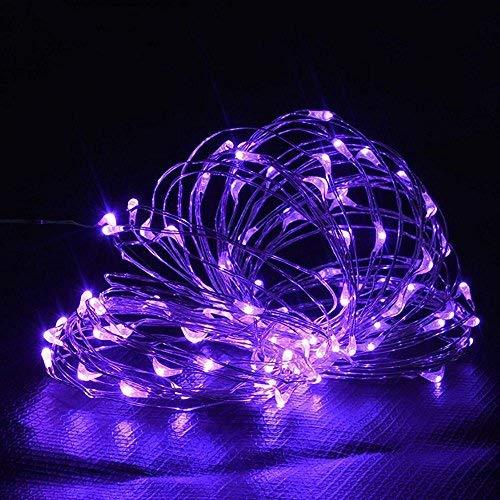 Fairy Light with 100 LEDs, Waterproof Copper Wire Starry String Lights by Battery Operated for Indoor Bedroom & Outdoor Patio Home Garden Wedding Party (33ft/10M, Purple)