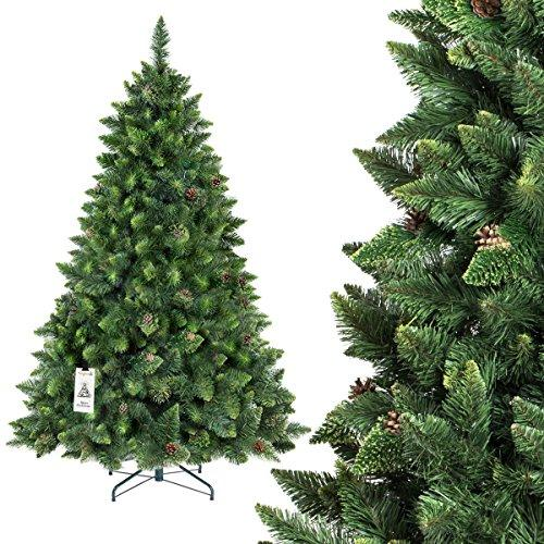 Pvc Christmas Trees.Fairytrees Artificial Christmas Tree Pine Natural Green Pvc Material Real Cones Metal Stand 6ft 180cm Ft03 180