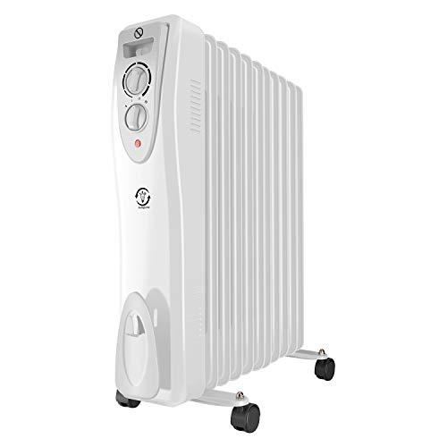 fam famgizmo Oil Filled Radiator Portable Electric Heater with 3 Heat Settings - Thermostat - Thermal - Overheat Protection - Safety Cut off 2500w 11 Fins White