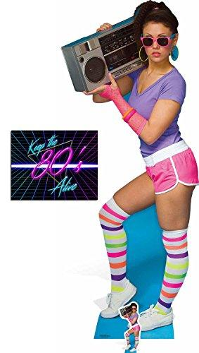 Fan Pack - 1980s Neon Boombox Girl Lifesize and Mini Cardboard Cutout / Standee / Standup - Includes 8x10 Star Photo