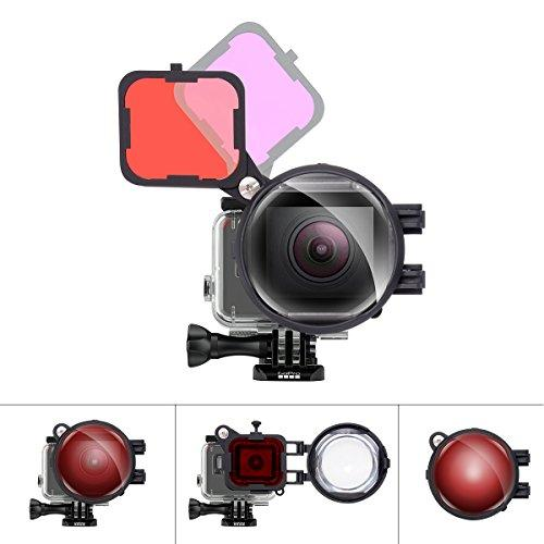 Fantaseal 3in1 Dive Lens Filter Set for GoPro Underwater Diving Snorkeling Lens Filter Red + MagentaFilter + 16X Close Up Macro Lens w/Anti-Loose Safety Lock for Gopro Hero 7/6/5 Diving Lens Filter