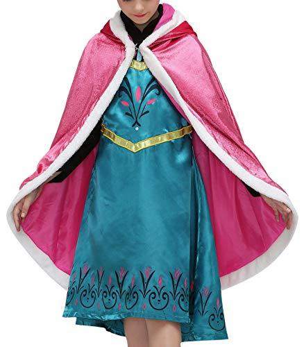 FASFF Deluxe Hooded Princess Cloaks |Girl long shawl|christmas cloak|Hooded Cape Cloak Costume| Cosplay Hooded Cape For Kids (Red)