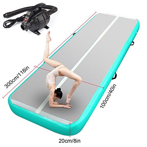 FBSPORT Airtrack Gymnastics Tumbling Mat Air Floor Workout Mat Inflatable Mattress Air Tumbling Track Mat for Exercise Fitness Sport with Electric Pump (Green width: 1 M; Height: 0.2 m, 3.00)