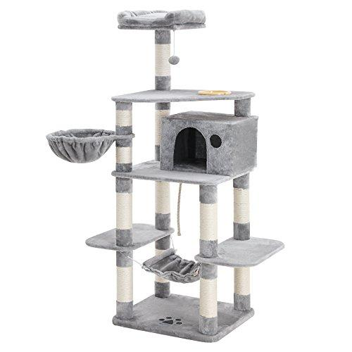 "FEANDREA 69"" Multi-Level Cat Tree with Feeder Bowl, Sisal-Covered Scratching Posts, Hammock, Basket and Condo, Cat Furniture for Kittens, Large, Light Grey PCT99W"