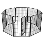 FEANDREA 8-Panel Pet Playpen, Heave-Duty Dog Enclosure, 77 x 100 cm, Black PPK81H