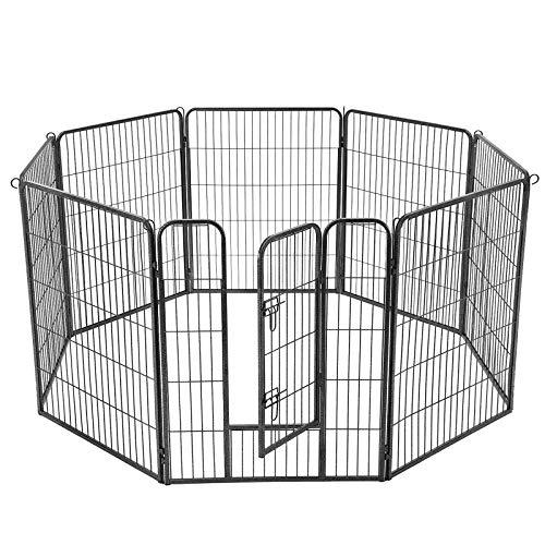 FEANDREA 8-Panel Pet Playpen, Heave-Duty Dog Enclosure, 77 x 100 cm, Grey PPK81G