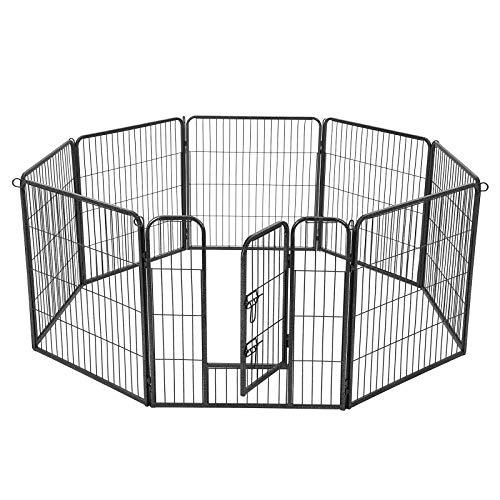 FEANDREA 8-Panel Pet Playpen, Iron Dog Cage, Heavy Duty Pet Fence, Puppy Whelping Pen, Foldable and Portable, 77 x 80 cm, Grey PPK88G