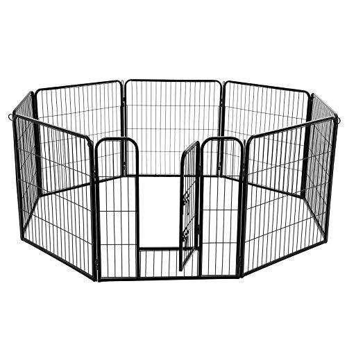 FEANDREA Heavy Duty Puppy Playpen Play Whelping Pen, 8 Panels Black 80 x 80 cm PPK88H