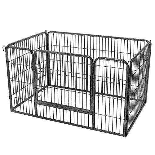FEANDREA Puppy Playpen, Dog Enclosure, Pet Exercise Panels, Gray PPK04BK