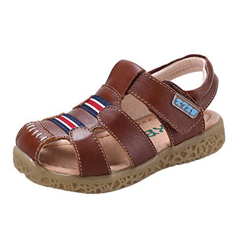 Feidaeu Kids Sports Sandals Summer Comfortable Soft Closed Toe Breathable Non-Slip Flat Sandals Outdoor Sports Sandals Beach Shoes Baby Toddler Shoes Brown