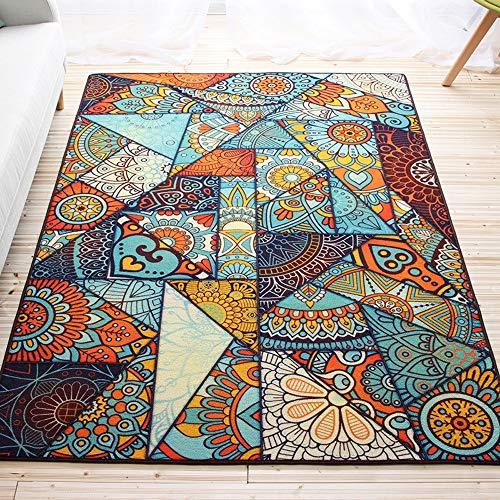 FeliciaWen Floor Mats European And American Style Flower National Wind Carpet Living Room Tea Table Sofa Bed Front Of The Bed Of Creative Anti-slip Mat. Entry Rug