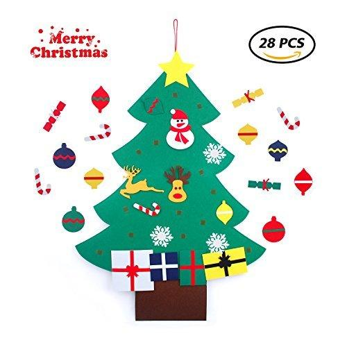 Felt Christmas Tree, Christmas Tree Felt with Wall Hanging Ornaments for Kids, Toddlers- Christmas Decorations and Gifts (28 Pcs)