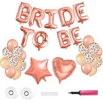 FEPITO Bride To Be Balloons Banner Rose Gold Balloons Foil Balloon Letters for Hen Party Decoration Supplies with Air Pump