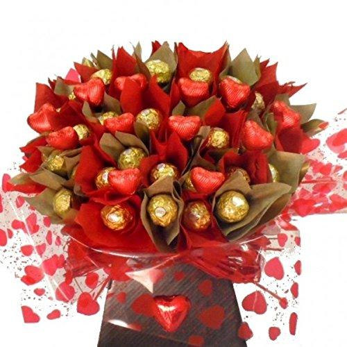 Ferrero Rocher chocolate bouquet with milk chocolate hearts, excellent gift idea for family and friends, a bunch of Ferrero Rocher chocolates, great alternative to sending flowers, FAST FREE DELIVERY chocolate hamper