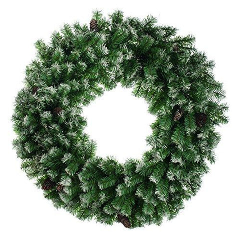 Festive Productions Frosted Wreath with Cones, 80 cm - Green