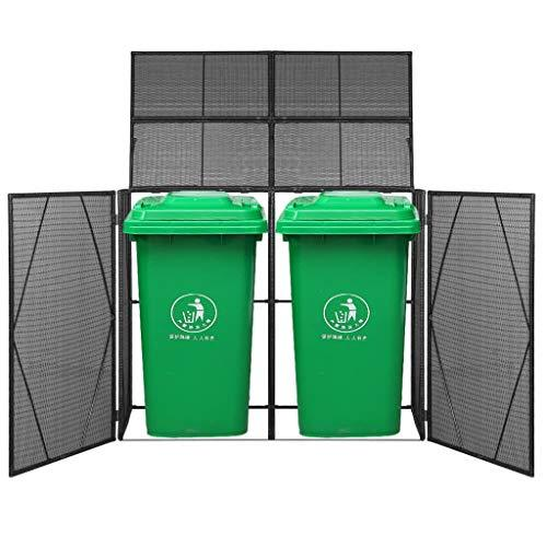 Festnight Poly Rattan Double Wheelie Bin Shed| Outdoor Garden Waste Bin Shed| Wheelie Bin Store Dustbin Cover with Front Door & Lifting Lid, 153x78x120 cm, Black