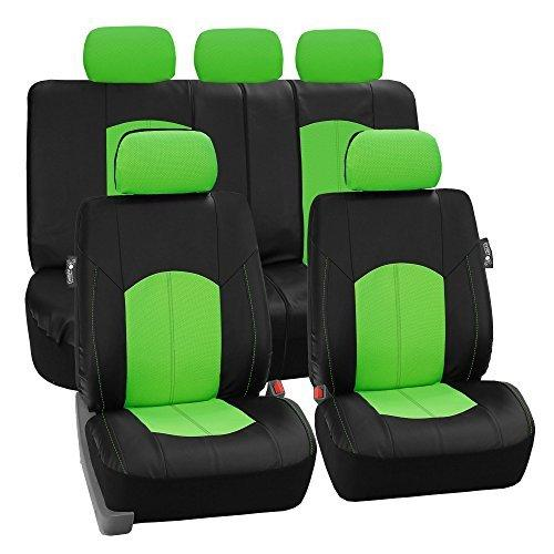 FH GROUP FH-PU008115 Perforated Leatherette Auto Seat Cover Full Set Green/Black- Fit Most Car, Truck, Suv, or Van