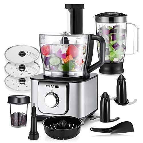 FIMEI 1100W Pro Food Processor Multifunctional Machine 3 Speed with Blender, Mixer, Grinder, Chopper, Citrus Juicer, Meat Dough Blades, Shredder, Slicing Attachments and 3.2L Bowl 1.5L Blender Jug