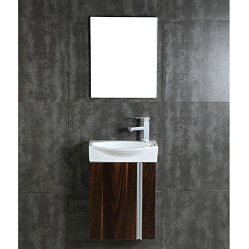 Fine Fixtures Compacto Small Bathroom Vanity Set With Sink -Wall Hung Cabinet- Sink top, And Mirror Included (Black Walnut)