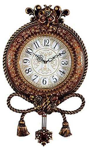 Fine Time USA Pendulum Clock Grandfather Style Wall Clock with Pendulum Antique Look - Large Size - Accurate Timekeeping - With Bow (Brown)