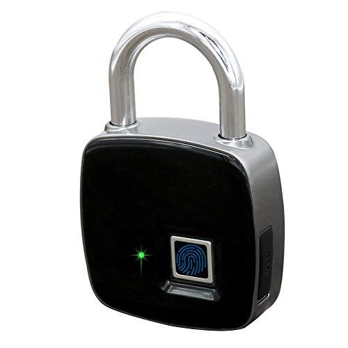 Fingerprint Padlock Master Lock Metal IP65 Waterproof Keyless Anti-Theft Rechargeable Quick Access Smart Padlock for Door, Office, Cabinet, Suitcase, Luggage, Backpack, Gym, Bike, Outdoor etc