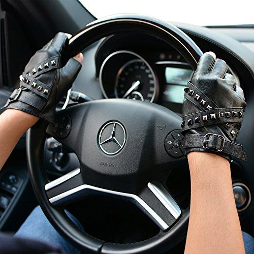 FIORETTO Genuine Leather Fingerless Gloves Mens Studded Leather Driving Gloves, Unlined Half Finger Summer Motorbike Gloves for Drivers, Black Brown Gray (Brand Gift Box Package)
