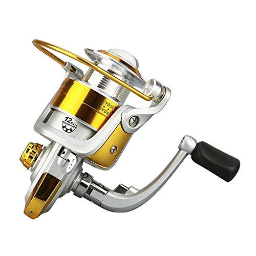 Fishing Reel Silver Pre-Loading Spinning Fishing Wheel Fake Bait Casting Ocean Lake Rubber Handle,12,4000 Series