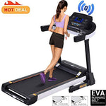 Fitness Folding Electric Jogging Treadmill Bluetooth app with IPAD Holder Walking Running Exercise Machine Incline Trainer Equipment Easy Assembly (Black)