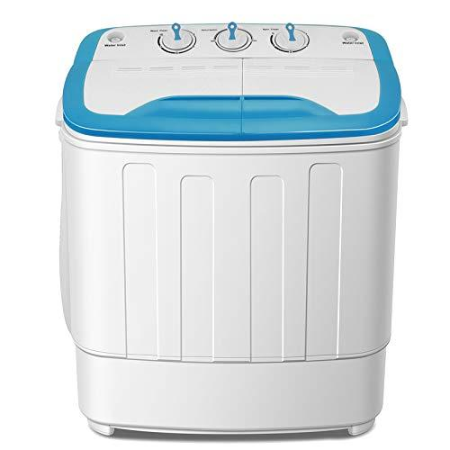 FitnessClub Portable Twin Tub Washing Machine 5.6 KG Total Capacity Washer And Spin Dryer Combo Compact For Camping Dorms Apartments College Rooms 3.6 KG Washer 2 KG Drying Blue&White