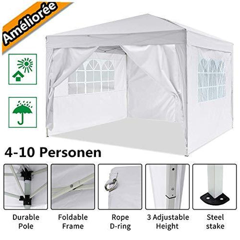 fiugsed 3x3m Garden Gazebo Marquee Tent with Side Panels, Fully Waterproof, Powder Coated Steel Frame for Outdoor Wedding Garden Party (Blue) (White)