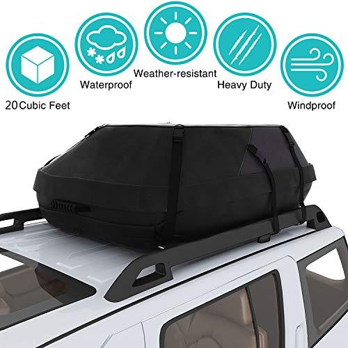 fiugsed roof box, car top carrier waterproof roof cargo carry bag. Includes heavy duty straps for SUV transporters of cars and travel cargo bags.