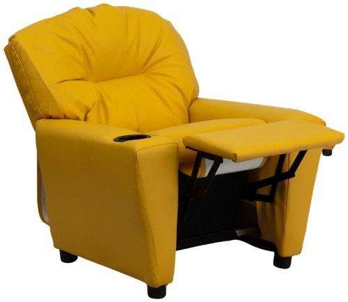Flash Furniture Contemporary Kids Recliner with Cup Holder, Wood Yellow Vinyl, 66.04 x 53.34 x 53.34 cm