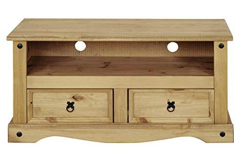 Flat Screen TV Unit | TV Stand | Corona Mexican Pine TV Table | 2 Drawers | Rustic Design