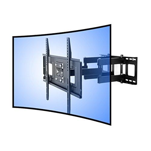 "FLEXIMOUNTS CR1 Curved Panel articulating TV Wall Mount Bracket-double arm tilt swivel feature for 32""-65"" UHD OLED 4k Samsung LG Vizio etc TVs"
